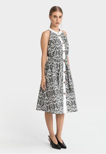 WARANGKA BATIK grey Dolce Buttoned Midi Dress in Grey 1C9E2AA77F6896GS_1