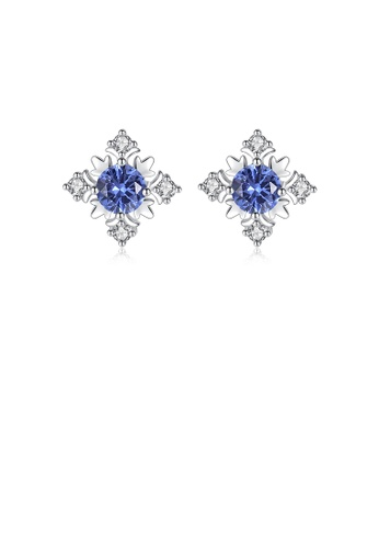 Glamorousky white 925 Sterling Silver Fashion and Elegant Snowflake Stud Earrings with Blue Cubic Zirconia 68FF9ACAC85F6AGS_1