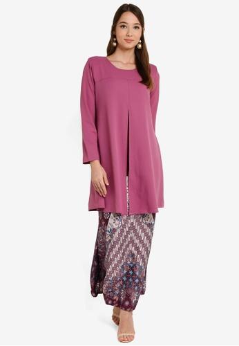 Cardigan Baju Kurung from Aqeela Muslimah Wear in Purple