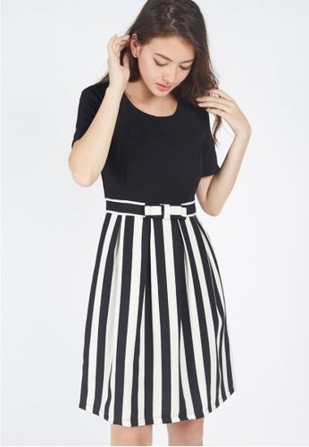 Moss Fashion black and white Chantay Dress in Black EAE16AAE840144GS_1