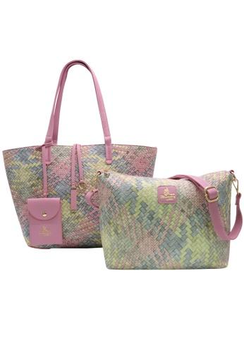 5e6e5536 Strawberry Queen Reversible 2-in-1 Tote Bag (Rattan, Pastel Pink)