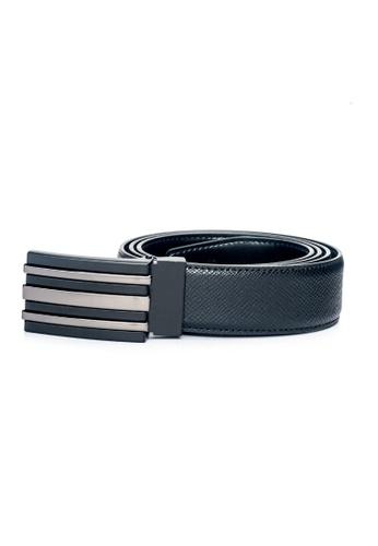 ENZODESIGN black Street Smart Two Tone Buckle Saffiano Leather Belt EN357AC0F586SG_1