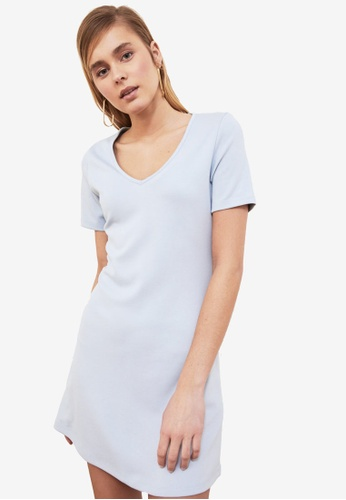 Trendyol blue V Neck A-Line T-Shirt Dress 1073CAA850094EGS_1