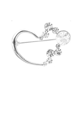 Glamorousky silver Fashion Love Brooch with Silver Austrian Element Crystals 1F525AC3B93C2FGS_1