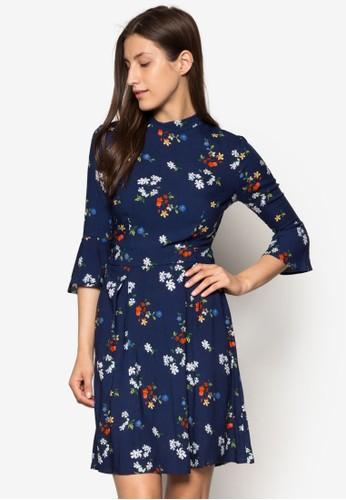 印花高領洋裝, 服esprit 兼職飾, 洋裝