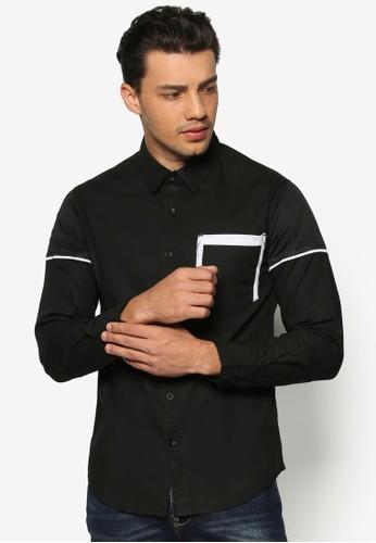 雙色網眼口袋長袖襯衫, esprit門市地址服飾, 襯衫