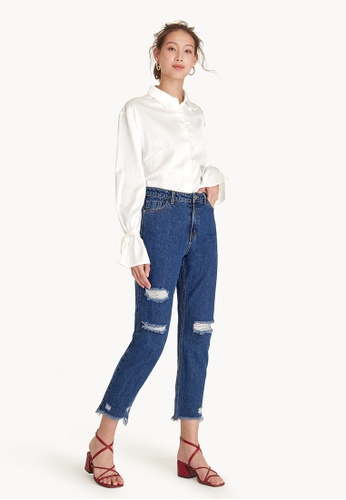 Pomelo navy Mid Rise Ripped Mom Jeans 9867CAA9964D91GS_1
