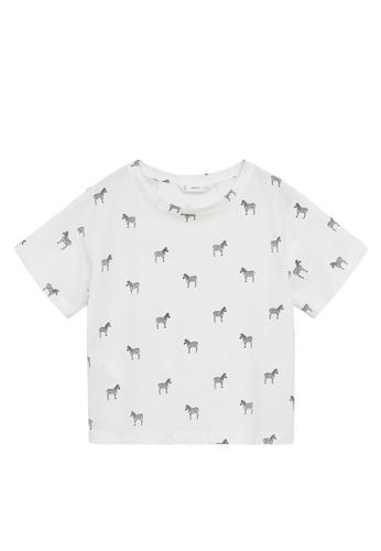 MANGO KIDS white Printed Cotton-Blend T-Shirt 597FEKA12C4749GS_1