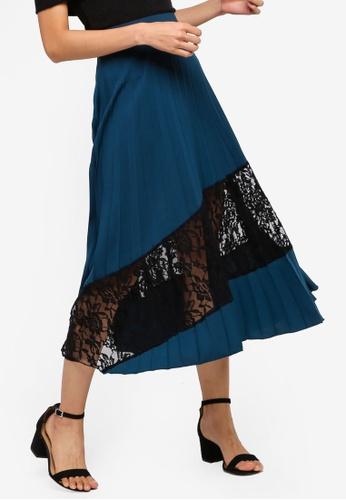 ZALORA 藍色 褶飾蕾絲 拼接Midi Skirt 58E75AA7E9BF43GS_1