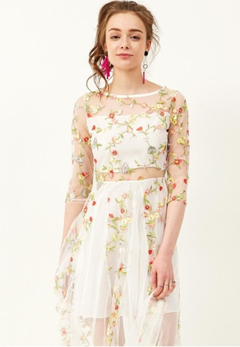 Storets white Kelly Floral Flower Mesh Dress ST450AA0GENOSG_1