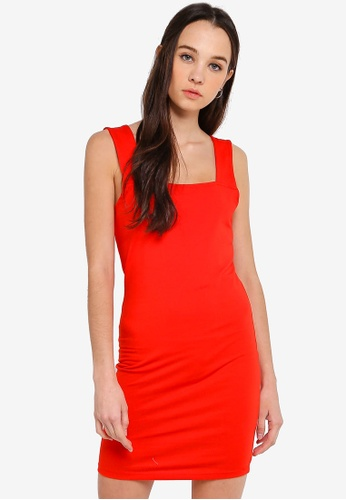 Cotton On red Peyton Square Neck Bodycon Mini Dress AD394AA68DB39CGS_1