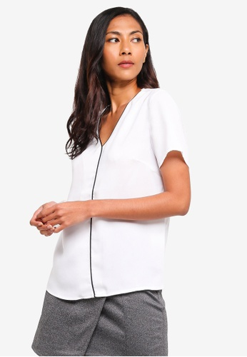 ZALORA BASICS white Basic Contrast Trim Blouse 8CA01AA7DEF726GS_1