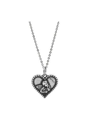 LYCKA silver LDR1361 S925 Silver The Thinker Angel Necklace C19E5AC6FA4594GS_1
