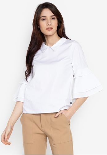 f37ccc6d389641 Shop Kamiseta Mariam Layered Bell Sleeves Collared Blouse Online on ZALORA  Philippines