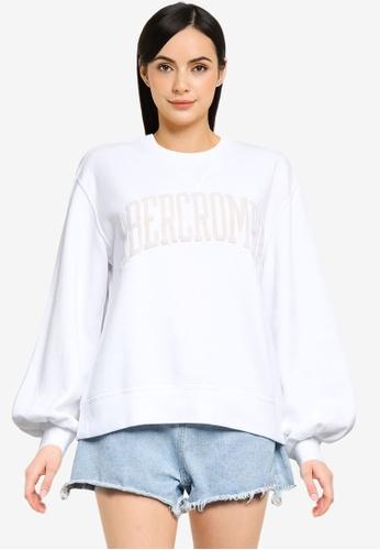 ABERCROMBIE & FITCH white Seasonal Collegiate Logo Crew Sweatshirt ABAA7AA85EFEEDGS_1