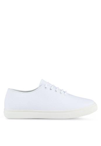 ZALORA white Minimalist Lace Up Sneakers D074BSH3C1AC11GS_1