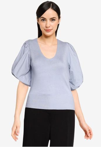 Vero Moda blue Moeko Short Sleeves V-neck Blouse 1BF65AA0C34907GS_1
