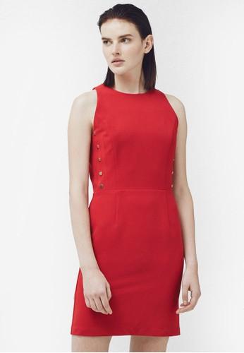 側排鈕貼身連身裙, 服飾,zalora 衣服評價 服飾