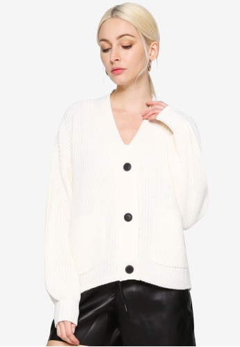 Noisy May white Tommy Chunky Knit Cardigan B6822AAD75BE67GS_1