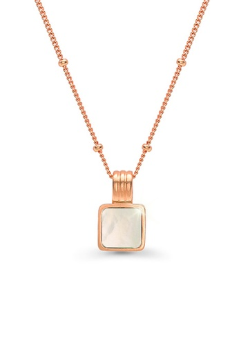 CELOVIS white and gold CELOVIS - Cole Mother Pearl Square Pendant Necklace in Rose Gold 00183ACFC3C400GS_1