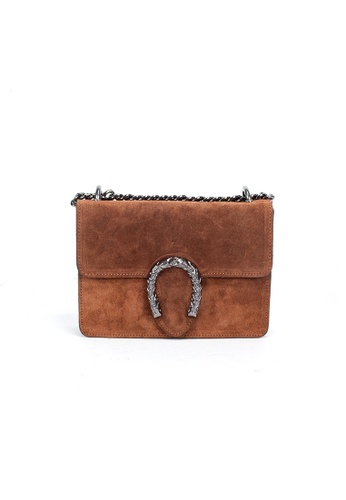 Shu Talk brown DMR Touch Buckle Suede Leather Shoulder Bag with Chains A35BFAC11D405FGS_1