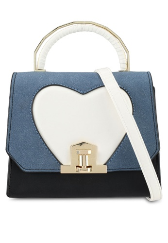 Velvet blue Small Heart Detail Top Handle Bag 447BFAC258C850GS_1
