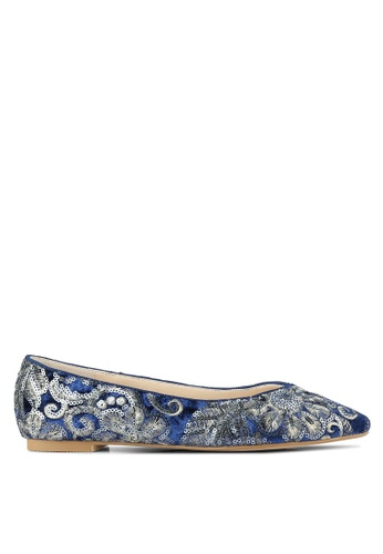 ZALORA navy Sequin Embroidered Ballet Flats FE1E0SH74D2F2EGS_1