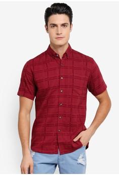 【ZALORA】 Printed Linen Short Sleeve Shirt