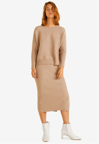 Mango brown Cable Knit Skirt 4F818AAC9ADFA3GS_1