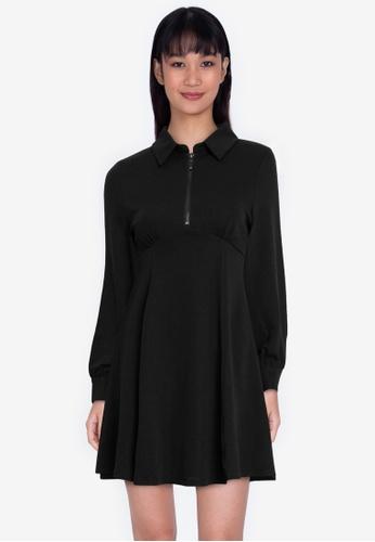 ZALORA BASICS black Collared Sweater Fit & Flare Dress 2A87DAAD9916B1GS_1