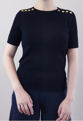SUB black Women Gold Button Knit Top 9F7E0AAA575F62GS_1