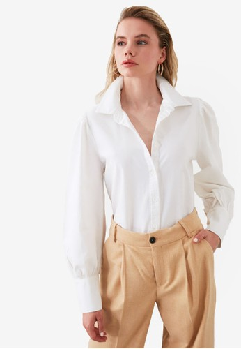 Trendyol white Gathered Sleeve Cuff Detail Shirt EA182AADBAB6A6GS_1