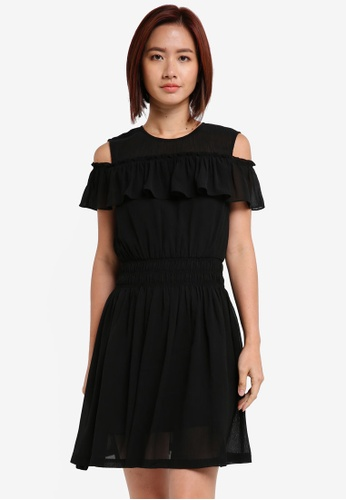 ZALORA black Sheer Yoke Cold Shoulder Dress FDE16AAA0BE518GS_1