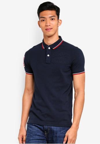Superdry navy Classic Super Tri Clr Short Sleeve Polo Shirt 01E8EAAC3B4515GS_1