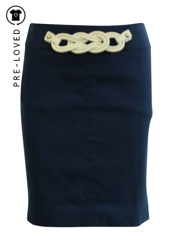 Gucci blue Pre-Loved gucci Navy Blue Office Skirt with Leather Decoration F5C76AA979D228GS_1