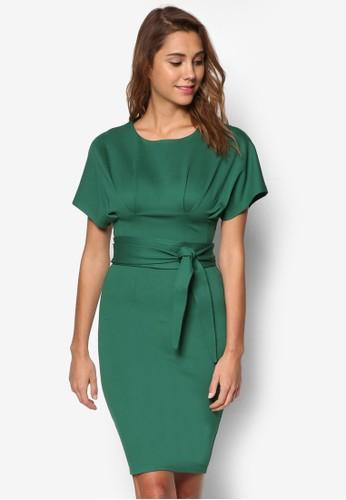 和風式短袖繫帶洋裝, 服飾esprit 品牌, 洋裝