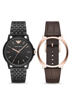 Emporio Armani black Emporio Armani Kappa - Black Dial 41 mm - Leather -  Black and 58c6823d12