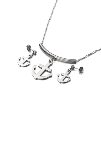 Glamorousky silver Fashion Simple Anchor 316L Stainless Steel Necklace and Earring Set FC725ACBF7B6FBGS_1