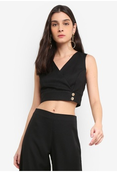 d50221d4b6c439 Miss Selfridge black Petite Black Side Button Wrap Crop Top  37083AAADB8DFAGS 1