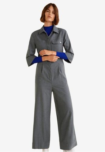 Mango grey Long Chest-Pocket Jumpsuit 68DB4AABF26D73GS_1