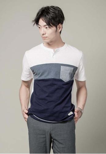 H:CONNECT blue Henley Collar Pocket T-Shirt EBB28AAFECC1FCGS_1