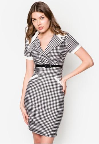 Kelly 格紋翻領腰esprit 價位帶連身裙, 服飾, 正式洋裝
