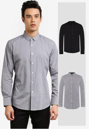 ZALORA black 2 Pack Slim Fit Plain & Checked Poplin Long Sleeve Shirt ZA919AA0FKG1SG_1