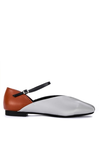 ABOUT A GIRL grey and brown Flats With Ankle Strap 04F98SH1CA11F3GS_1