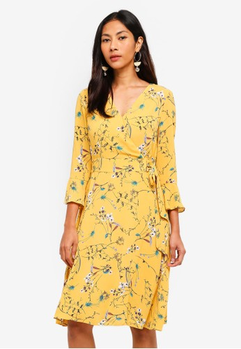 Hopeshow yellow Floral Dress With Tie Belt 95C5EAAB76E5D9GS_1
