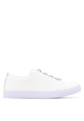 ZALORA white Faux Leather Sneakers with Flat Lace 1A76CSH6B16B21GS_1