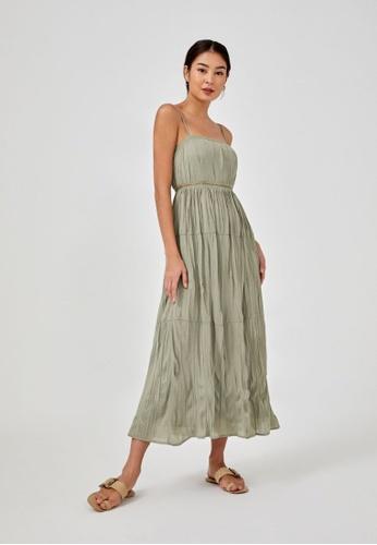 Love, Bonito green Charlotta Tiered Crinkled Maxi Dress 3D076AA8168748GS_1