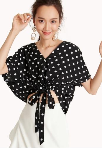6da1092c8c7dc9 Buy Pomelo Polka Dot Drawstring Crop Top Online