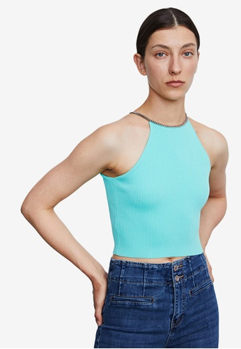 Urban Revivo green Halter Neck Chain Detail Cropped Top FC2B9AAD6D66A7GS_1