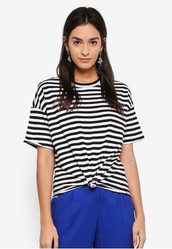 Vero Moda 黑色 短袖條紋扭結T恤 8F08EAAF06F272GS_1